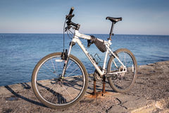 Odessa, Ukraine - DEC 21: Bicycle parked on a pier Stock Photography