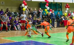 Odessa, Ukraine -Decemb 25, 2018: Young children play rugby while playing in city school derby in closed room. Children`s sport. Children play rugby 5. Fight stock image