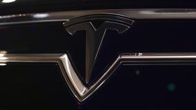 ODESSA, UKRAINE - DECEMBER 06, 2017 Tesla sign with lens flare