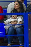 Odessa, Ukraine - Febr 16, 2019: Fans of basketball team and spectators in stands emotionally support their team during intense. Play. Fan club. Visitors fill stock photo