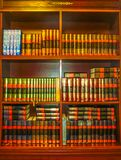 Odessa, Ukraine - Jily 09, 2017: The old Torah among wooden bookshelves with holy books in Synagogue Beit Habad Royalty Free Stock Image