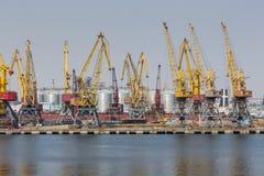 Odessa, Ukraine - 30 juillet 2016 : Grues de récipient dans le port de cargaison Images libres de droits