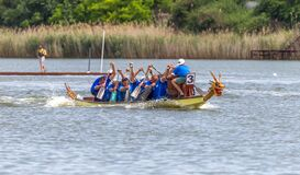 Free ODESSA, UKRAINE - July 1, 2019: Dragon Boat Festival. Dragon Boat Festival In The River. Dragon Boat Competitions On The Day Of Royalty Free Stock Photos - 170117128