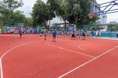 ODESSA, UKRAINE - JULY 28, 2018: Adolescents play basketball during 3x3 streetball championship. Young people play street basketba. Ll on an open city sports royalty free stock photography