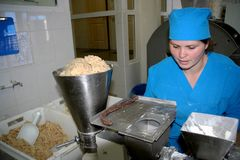 Odessa, Ukraine - July 7, 2007: The factory for the production o. F food from natural Ingredients. Food Convenience food. Production of dumplings, pancakes stock photo