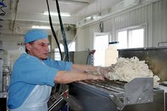 Odessa, Ukraine - July 7, 2007: The factory for the production o. F food from natural Ingredients. Food Convenience food. Production of dumplings, pancakes royalty free stock image