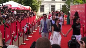 Odessa, Ukraine – 7 July 2014: Guests Odessa International Film Festival on the red carpet at the opening ceremony stock footage