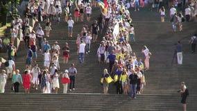 Odessa, Ukraine - 28 June 2014: celebration of the Constitution of Ukraine in Odessa on the Potemkin stairs large national flag. Odessa, Ukraine - 28 June 2014 stock video