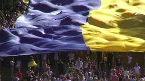 Odessa, Ukraine - 28 June 2014: celebration of the Constitution of Ukraine in Odessa on the Potemkin stairs large national flag Royalty Free Stock Image