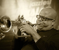ODESSA, UKRAINE - JUNE 5: trumpeter Roberto Garcia (Cuba, Havana Royalty Free Stock Image