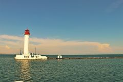 Odessa, Ukraine. Lighthouse located next to the harbour. Lighthouse in the Black sea. Touristic landmark, view from a boat royalty free stock photos