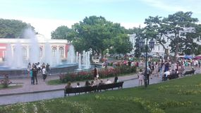 Odessa, Ukraine. A look to some main square, park, city garden. royalty free stock photography