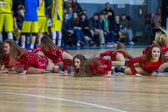 ODESSA, UKRAINE - March 15, 2018: majorette show by the beautiful young stock photography