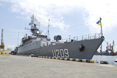 ODESSA, UKRAINE  -  MAY 8: Ukrainian military ship. Ternopil arrived to Odessa port for the Victory day May 8, 2010 in Odessa, Ukraine Royalty Free Stock Photography