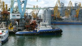 Marine port cranes, and industrial zone in cargo front of Odessa sea commercial port in Ukraine. stock video