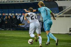 ODESSA, UKRAINE - November 03, 2016: Dirk Kuyt (R)during the UEF. A Europa League match group stage Zarya Lugansk vs Feyenoord Rotterdam, Ukraine Royalty Free Stock Photography