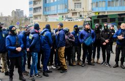 Protests of Ukrainian patriots near General Consulate of Russian Federation in Odessa against aggression of Russia. Odessa / Ukraine - November 26 2018: Protests stock images