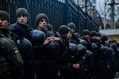 Protests of Ukrainian patriots near General Consulate of Russian Federation in Odessa against aggression of Russia. Odessa / Ukraine - November 26 2018: Protests stock image