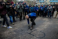Protests of Ukrainian patriots near General Consulate of Russian Federation in Odessa against aggression of Russia. Odessa / Ukraine - November 26 2018: Protests royalty free stock photos