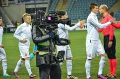 ODESSA, UKRAINE - November 03, 2016: Videographer shoots a football match during the UEFA Europa League match group stage Zarya L royalty free stock photography