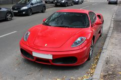 Odessa, Ukraine. 2012 October 13. Ferrari F430 on the street royalty free stock photography