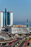 Odessa, Ukraine. Sea terminal and hotel Odessa. View from Primorsky Boulevard royalty free stock images