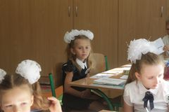 Free ODESSA UKRAINE - September 1, 2019: First Call. 1 September Is Day Of Knowledge. Solemn School Line, First Grade, Back To School. Royalty Free Stock Image - 157683426