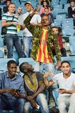 ODESSA, UKRAINE - September 15, 2016: Active fun fans in the sta. Dium during the UEFA Europa League match group stage Zarya Lugansk vs FENERBAHCE Istanbul, 15 royalty free stock photos