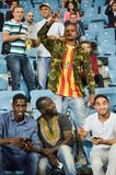 ODESSA, UKRAINE - September 15, 2016: Active fun fans in the sta. Dium during the UEFA Europa League match group stage Zarya Lugansk vs FENERBAHCE Istanbul, 15 stock image