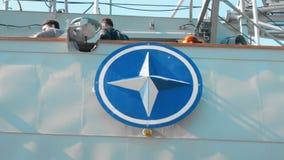 Odessa, Ukraine - September 2019: NATO military emblem aboard a warship