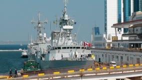 Odessa, Ukraine - September 2019: NATO warships in Ukraine. NATO naval forces in the port of Odessa. Canadian flag flies