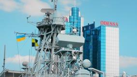 Odessa, Ukraine - September 2019: Navigation equipment and radio locators on a NATO warship