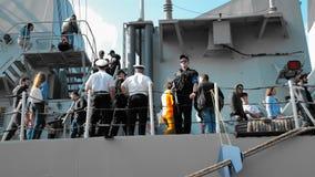 Odessa, Ukraine - September 2019: Navy men, gunmen, and marines guard a NATO warship during an excursion open to