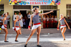 Odessa, Ukraine - September 1, 2015: School line is in schoolyard. The Knowledge Day in Ukraine, School dance group Royalty Free Stock Images