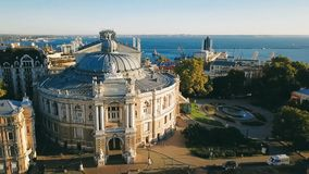 Odessa Ukraine sightseeing Opera and Ballet Theater. aerial video footage. Top view. Ukrainian city stock video footage