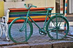 Odessa, Ukraine. Street art monument. View of some bycicle monuments, fixed in a city center street stock photos