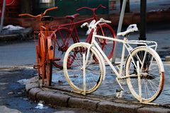 Odessa, Ukraine. Street art monument. View of some bycicle monuments, fixed in a city center street stock photography