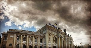 The Odessa Train Station. Odessa Ukrainian: Одеса-Головна, Russian: Одесса-Главная is the main train station in Odessa in the south of stock image