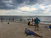 Odessants Viktor Zonis en Michael Salita On Brighton Beach Royalty-vrije Stock Foto's