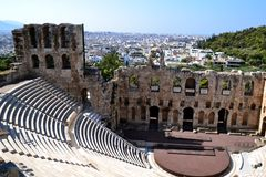 Odeum of Herodes Atticus. Photo taken in Athens, Greece at the Theater of Herodes Atticus royalty free stock photo