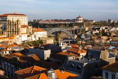 Odgórnego widoku stary śródmieście Porto, Portugalia - Podróż obrazy royalty free