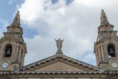 Odgórna fasada St Publius kościół katolicki, Floriana Obraz Stock