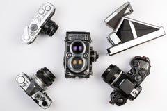 odgórne analogowe kamery na białym tle, nikon, kanon, Olympus, p Obrazy Stock