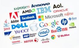 Odgórne komputerowe firmy w świacie Obrazy Royalty Free