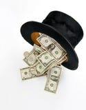 Odgórnego kapeluszu whit dolary Zdjęcia Stock