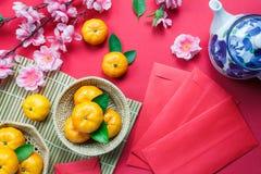 Odgórnego widoku akcesoriów nowego roku festiwalu Chińskie dekoracje Obrazy Royalty Free