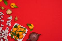 Odgórnego widoku akcesoriów nowego roku festiwalu Chińskie dekoracje Orang Zdjęcie Stock