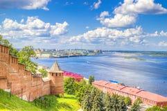 Odgórnego widoku centrum Nizhny Novgorod fotografia stock