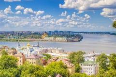Odgórnego widoku centrum Nizhny Novgorod obrazy royalty free