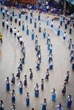 Odgórnego widoku Dziejowy obrazek ceremonia taniec bogini Thailand 2018 Zdjęcia Stock